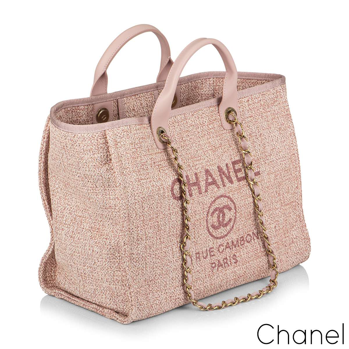 Chanel Large Deauville Tote Pink Tweed Gold Tone Hardware